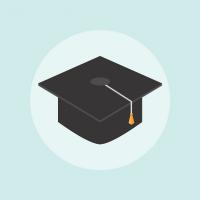 clip art image of black graduation cap