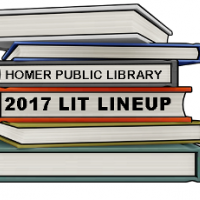 Homer Public Library 2017 Lit Lineup text written on stack of books