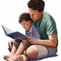 man reading a book to a young boy sitting on his lap