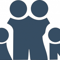 vector style simplified group of two adults and two children