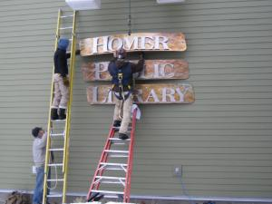 Hanging the Homer Public Library Sign