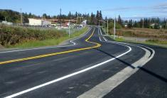 Waddell Way freshly paved and painted.